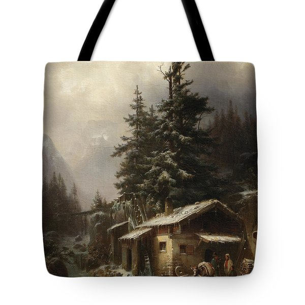 Winter Landscape With Figures Resting Near A Water Mill Tote Bag by Heinrich Hofer