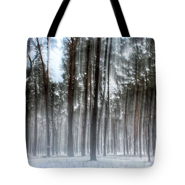 Winter Light In A Forest With Dancing Trees Tote Bag