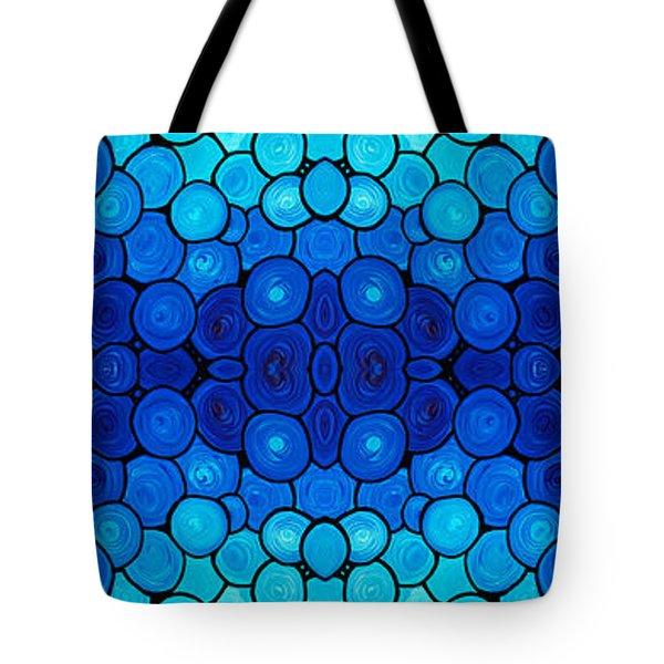 Winter Lights - Blue Mosaic Art By Sharon Cummings Tote Bag by Sharon Cummings