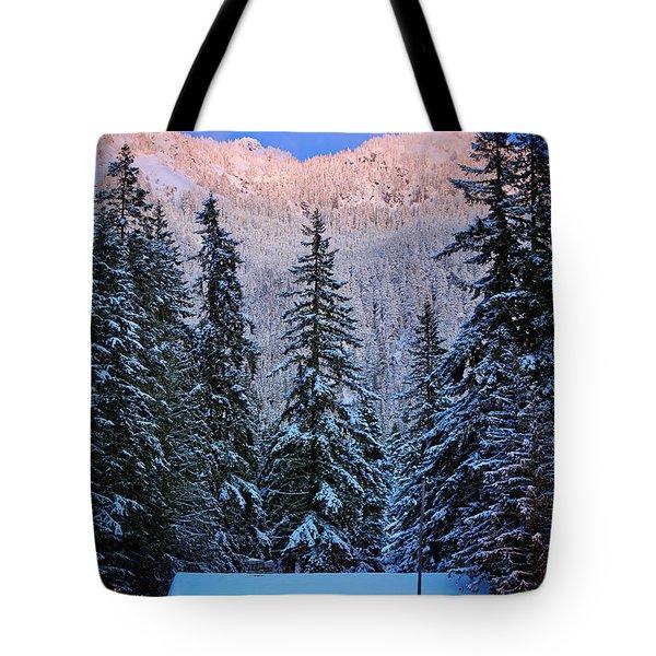 Winter Lodging Tote Bag by Inge Johnsson
