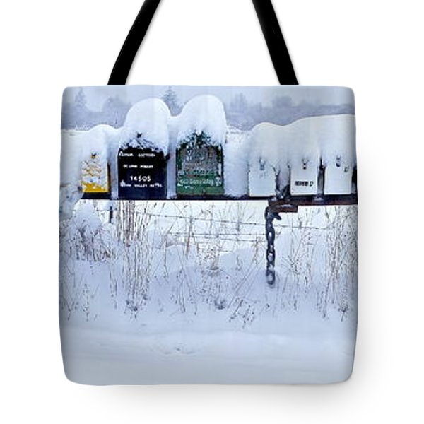 Winter Mailbox Panorama Tote Bag