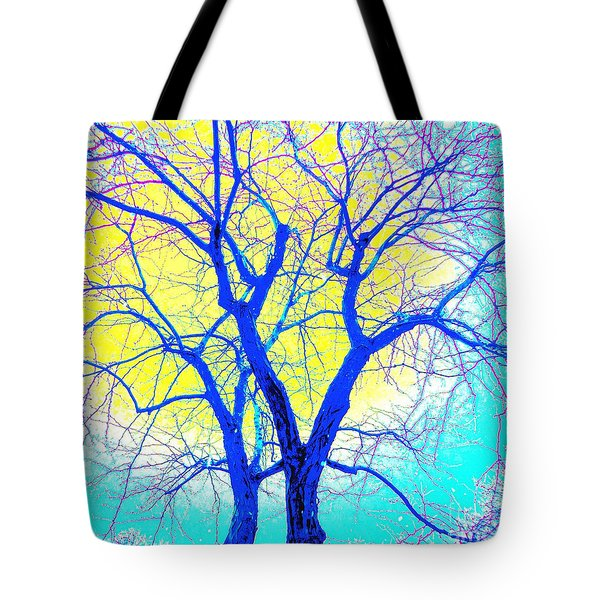 Winter Marriage Of Two Trees Tote Bag by Ann Johndro-Collins