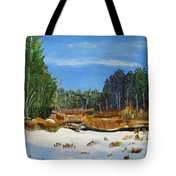 Winter Marsh In Hooksett Tote Bag