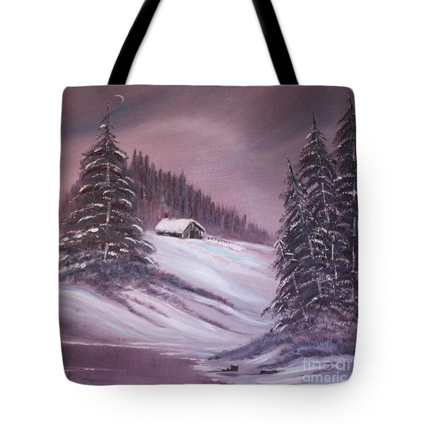 Tote Bag featuring the painting Winter Moon by Janice Rae Pariza