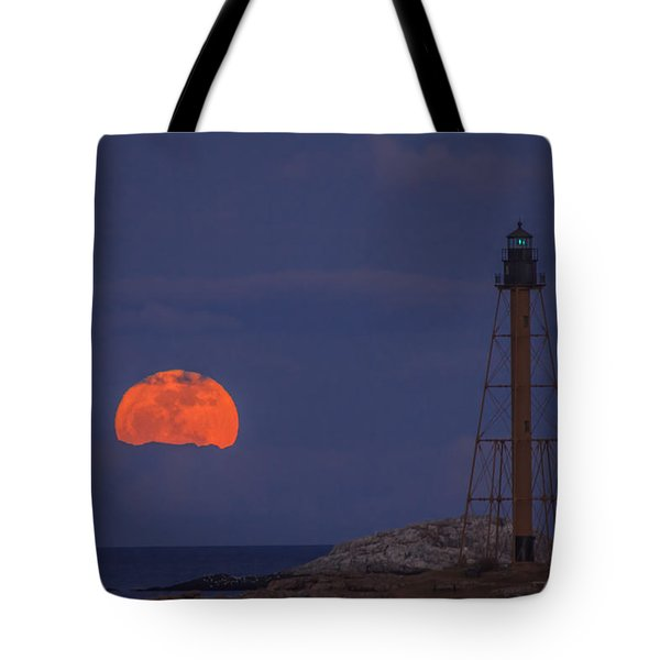 Winter Moon Rising Over Marblehead Light Tote Bag