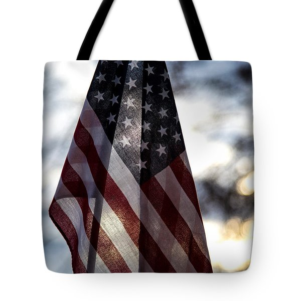 Winter Morning Patriotism Tote Bag