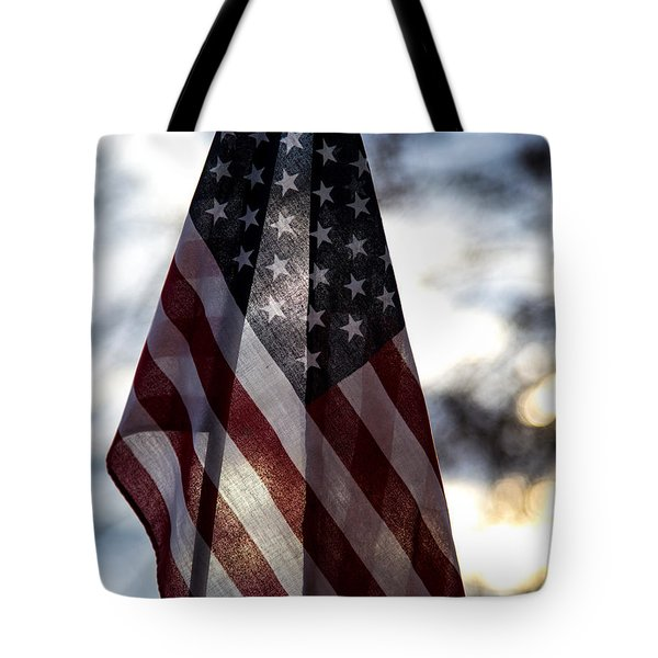Winter Morning Patriotism Tote Bag