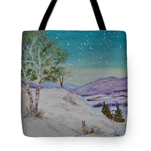 Winter Mountains With Hare Tote Bag