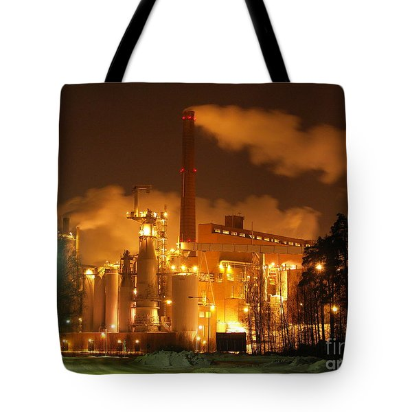 Winter Night At Sunila Pulp Mill Tote Bag