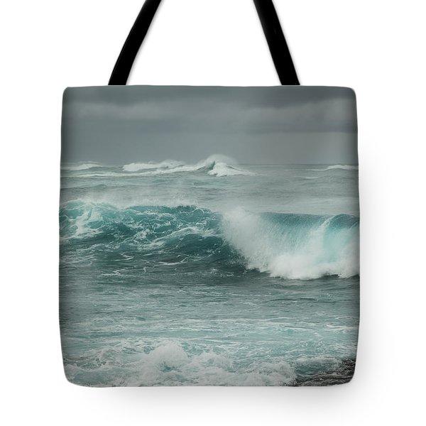 Winter North Shore Wave Tote Bag