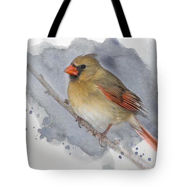 Winter Northern Cardinal Tote Bag