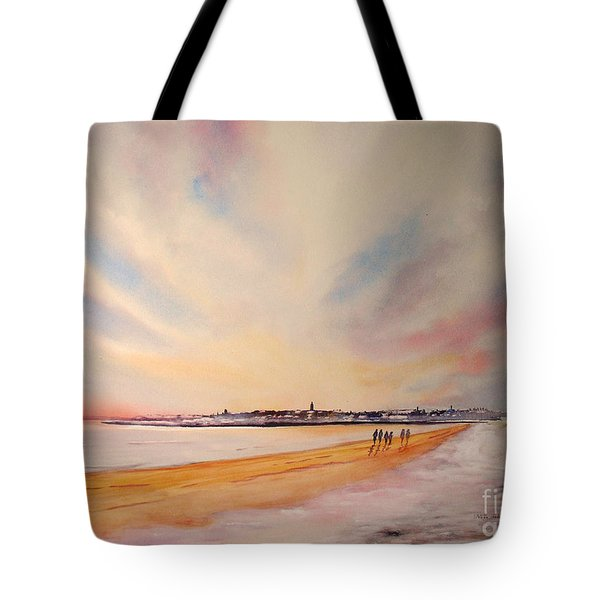 Tote Bag featuring the painting Winter On St Andrews Scotland by Beatrice Cloake