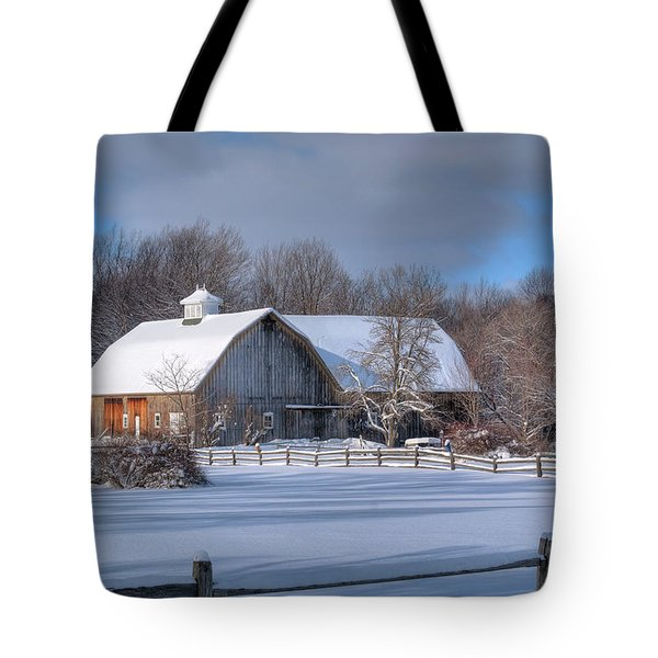 Tote Bag featuring the photograph Winter On The Farm 14586 by Guy Whiteley