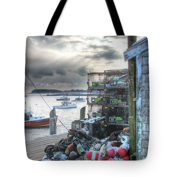 Winter On The Lobster Wharf Tote Bag