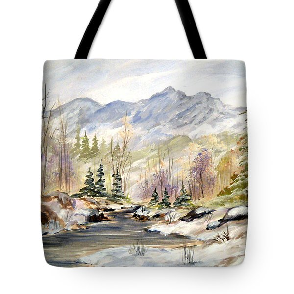 Tote Bag featuring the painting Winter On The River by Dorothy Maier