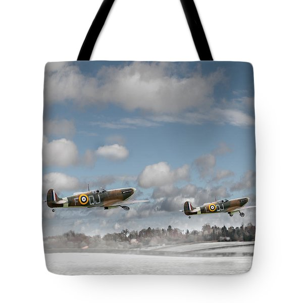 Winter Ops Spitfires Tote Bag by Gary Eason