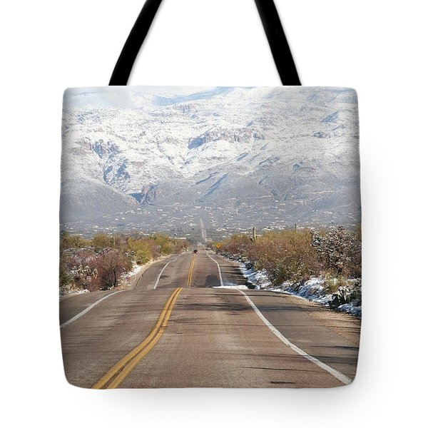 Winter Road Tote Bag by David S Reynolds