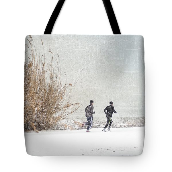 Winter Runners Tote Bag by Betty LaRue