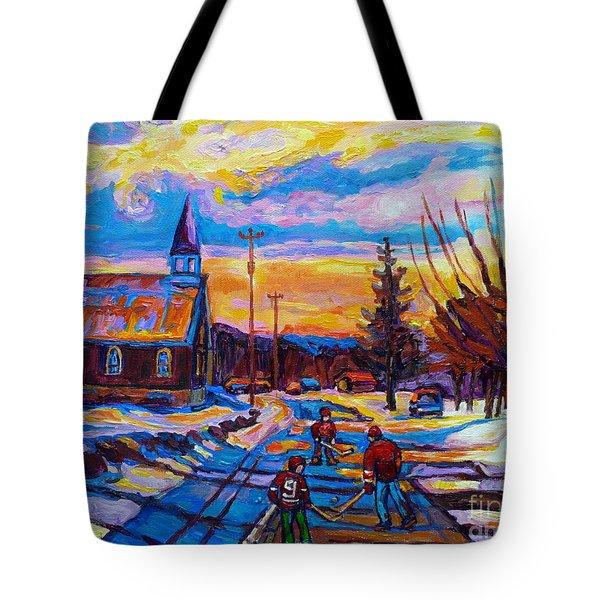 Winter Scene Painting-hockey Game In The Village-rural Hockey Scene Tote Bag by Carole Spandau