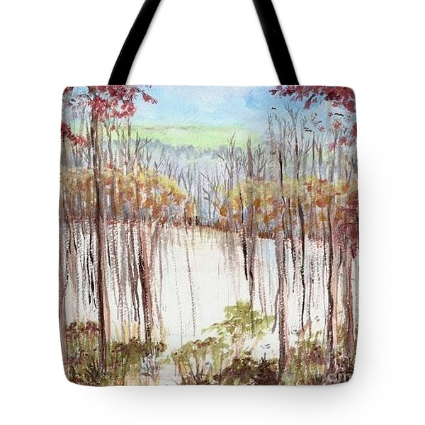 Winter Scene Tracks Tote Bag