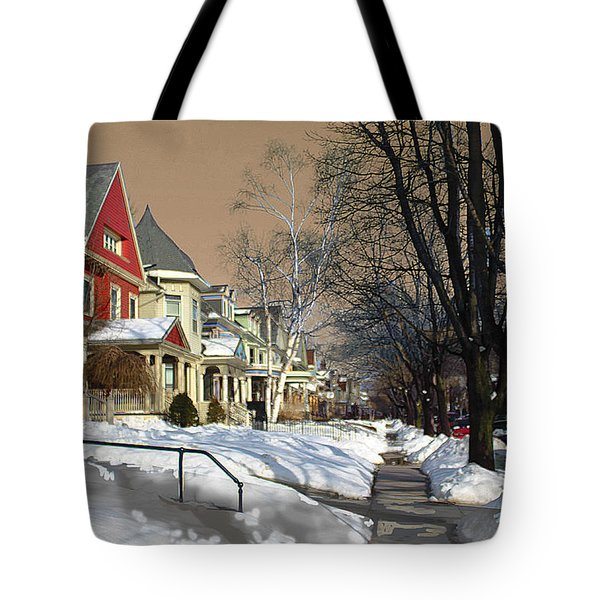 Tote Bag featuring the pyrography Winter Scenery  by Viola El