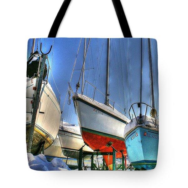 Winter Shipyard Tote Bag