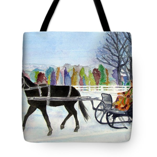 Tote Bag featuring the painting Winter Sleigh Ride by Carol Flagg