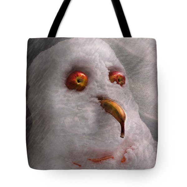 Winter - Snowman - What Are You Looking At Tote Bag by Mike Savad