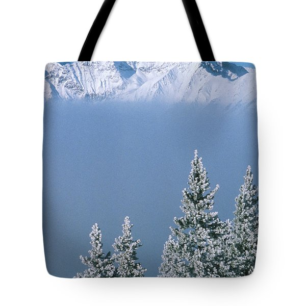 Winter Snowscape Mountain And Evergreens Tote Bag