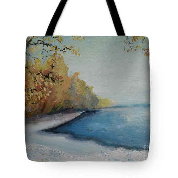 Winter Starts At Kymi River Tote Bag