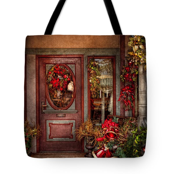 Winter - Store - Metuchen Nj - Dressed For The Holidays Tote Bag by Mike Savad