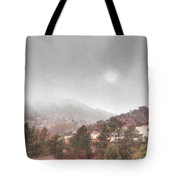 Tote Bag featuring the photograph Winter Storm In Summer With Sun by Lanita Williams