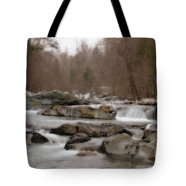 Tote Bag featuring the photograph Winter Stream by Geraldine DeBoer