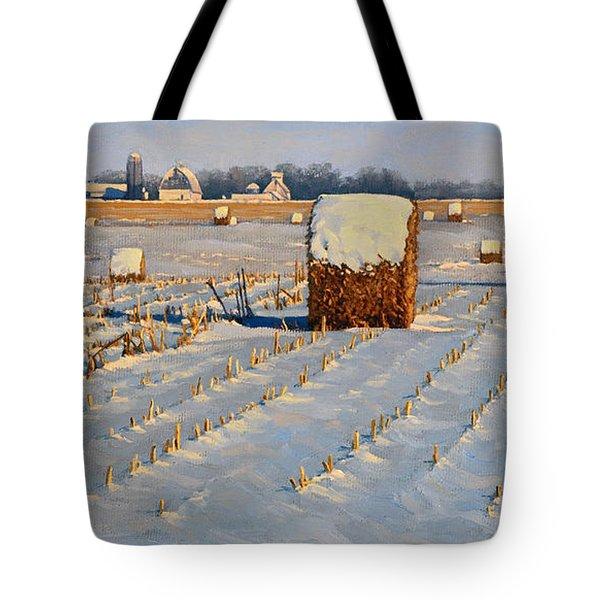 Winter Stubble Bales Tote Bag by Bruce Morrison