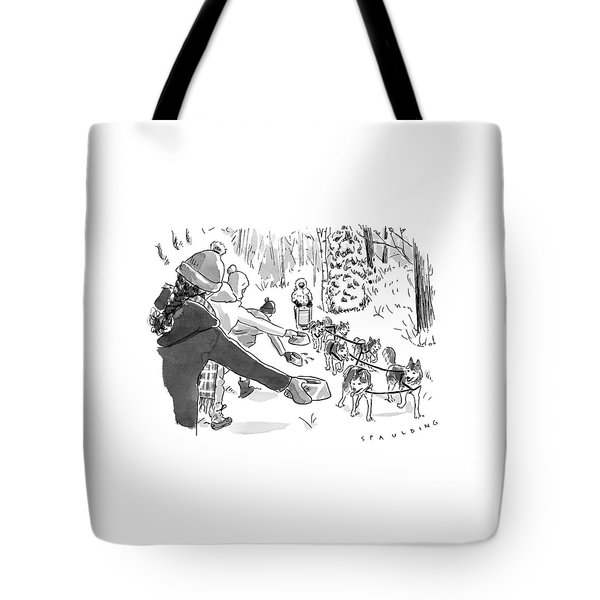 Winter Suited Volunteers Hold Out Dog Dishes Tote Bag