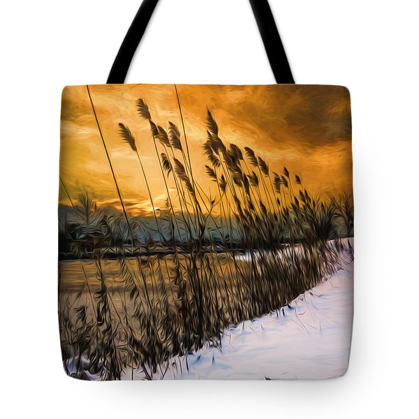 Winter Sunrise Through The Reeds - Artistic Tote Bag