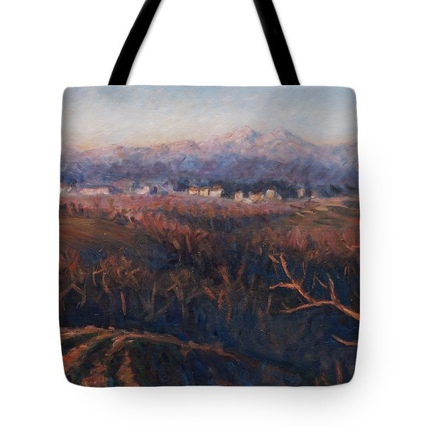 Winter Sunset In Brianza Tote Bag by Marco Busoni