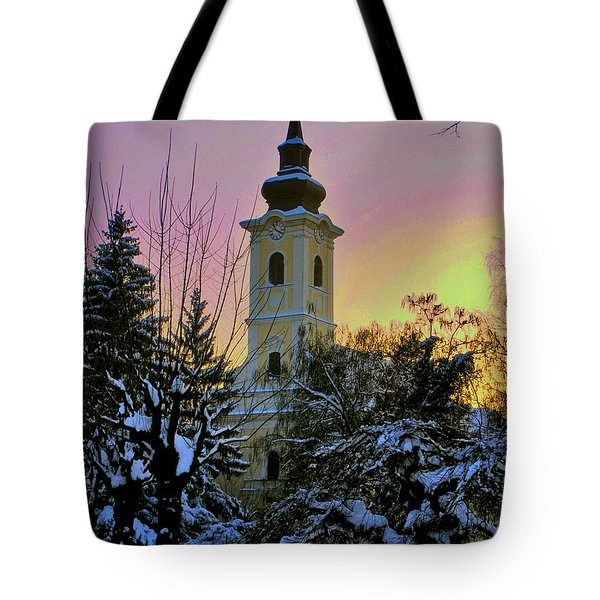 Tote Bag featuring the photograph Winter Sunset by Nina Ficur Feenan