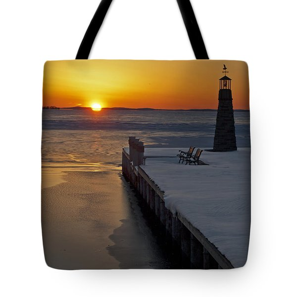 Tote Bag featuring the photograph Winter Sunset On Lake Winneconne by Judy  Johnson