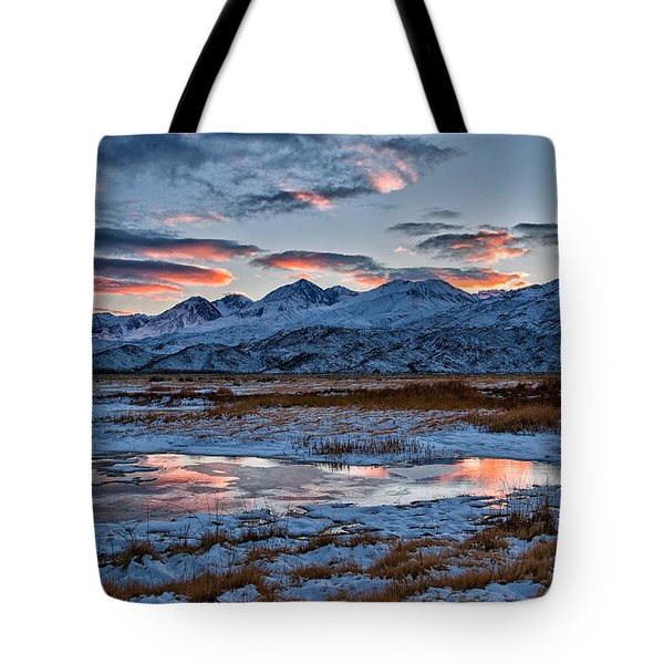 Winter Sunset Reflection Tote Bag by Cat Connor