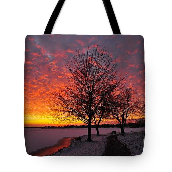 Winter Sunset Tote Bag by Terri Gostola
