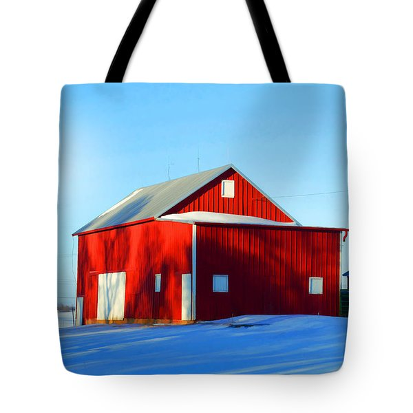 Winter Time Barn In Snow Tote Bag by Luther Fine Art