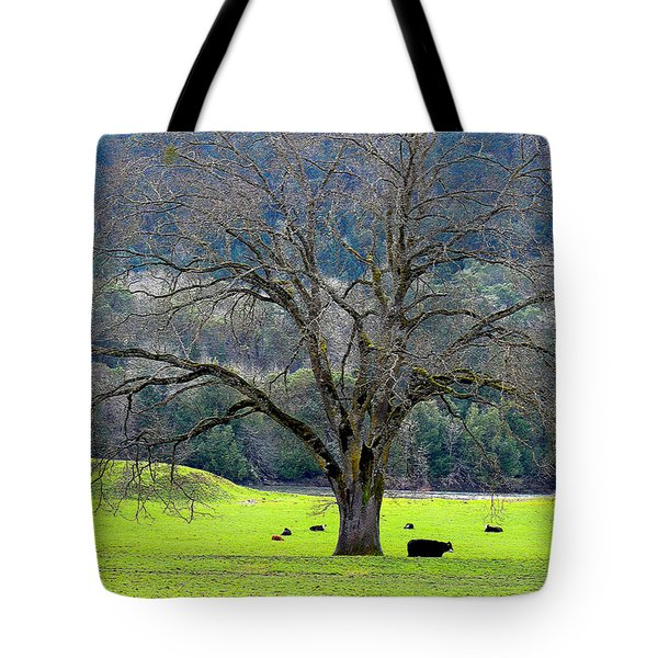 Winter Tree With Cows By The Umpqua River Tote Bag