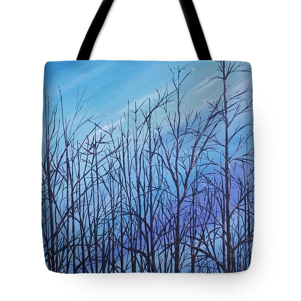 Winter Trees Against A Blue Sky Tote Bag by Ellen Canfield