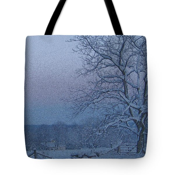 Winter Trees On West Michigan Farm At Sunrise Tote Bag