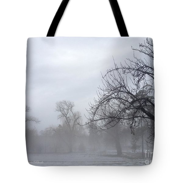 Tote Bag featuring the photograph Winter Trees With Mist by Jeannie Rhode