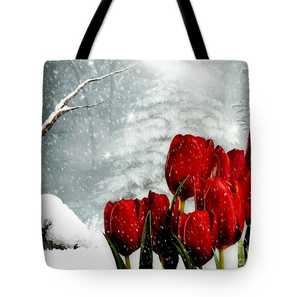 Winter Tulips Tote Bag by Morag Bates