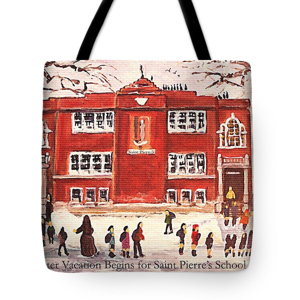Tote Bag featuring the painting Winter Vacation Begins For Saint Pierre's School by Rita Brown