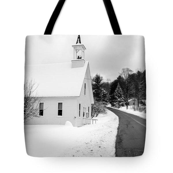 Winter Vermont Church Tote Bag