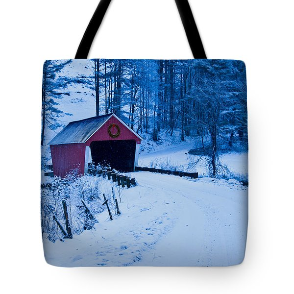winter Vermont covered bridge Tote Bag